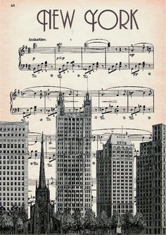 Musik NEW YORK Skyline Art Print Wolkenkratzer von artretro auf Etsy Skyline Art, Broadway New York, Musik Illustration, Sheet Music Art, Music Paper, Voyage New York, Plakat Design, Music Artwork, Music Collage