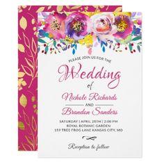 Watercolor Blossom Fuchsia Gold Floral Wedding Card - wedding invitations diy cyo special idea personalize card