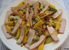 Pieta's hapjes: Salade van ijsbergsla, mango, avocado en gerookte ...