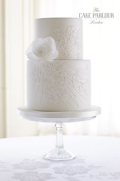 Wedding Cakes Brisbane, Sunshine Coast and Gold Coast - Collection of iced wedding cakes, and wedding cake designs including hand-crafted sugar flowers. Wedding Cake Two Tier, White Wedding Cakes, Elegant Wedding Cakes, Elegant Cakes, Wedding Cake Designs, Lace Wedding, Purple Wedding, Floral Wedding, Rustic Wedding