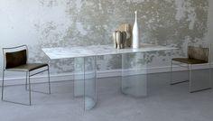 Tavolo TA03  piano in marmo calacatta