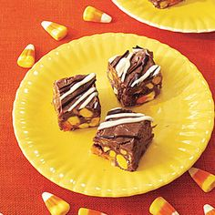 Candy Corn Fudge -- Candy corn finds a new home inside this melt-in-your-mouth fudge recipe. An optional drizzle of white and semisweet chocolate adds an easy decoration. Swirl and serve!