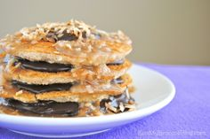 Samoa Cookie Pancakes! Gluten-free, dairy-free, vegan, and so DELICIOUS you'll forget all about those Girl Scouts tormenting you at the supermarket! ;)
