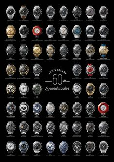 Every Speedmaster lover should have this! The Omega Speedmaster 60 Anniversary Poster I am a big fan of OMEGA Speedmaster. This year, the Omega Speedmaster has celebrated its anniversary; Omega Speedmaster Moonwatch, Omega Seamaster, Cool Watches, Rolex Watches, Speedmaster Professional, Moon Watch, Junghans, Vintage Omega, 60th Anniversary