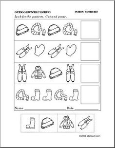 Printables Follow The Pattern Worksheets For Kg this is a free hat and mitten pattern worksheet for your winter clothing follow the preschoolprimary abcteach