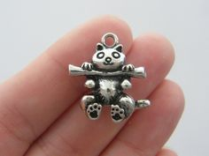 BULK 10 Cat charms antique silver tone CT31