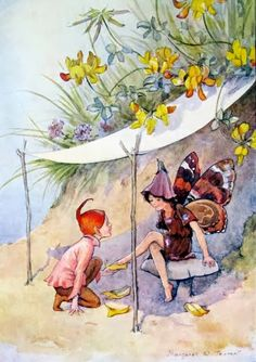 Illustration by Margaret Tarrant for the book 'Joan in Flowerland', written by Margaret Tarrant and Lewis Dutton. A scene depicting a fairy trying on yellow slippers at a shop. Magical Creatures, Fantasy Creatures, Arte Elemental, Fairy Paintings, Kobold, Elves And Fairies, Fairytale Fantasies, Vintage Fairies, Love Fairy