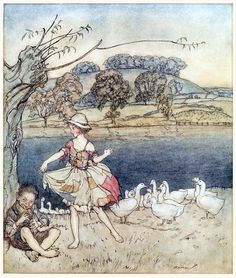Tattercoats dancing while the gooseherd pipes. Arthur Rackham, from English fairy tales, retold by Flora Annie Steel, New York, 1922. (Source: archive.org.)