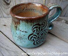 BELIEVE Crop Circle Coffee Mug - Wheel Thrown Ceramic Coffee Cup - Rustic Earthy - Mint Chocolate Chip - Dream Believe Imagine. $39.00, via Etsy.
