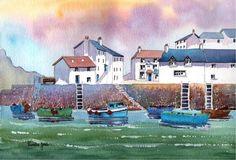 Aquarel Print Polperro Harbour Cornwall door Pamelajonesartstudio