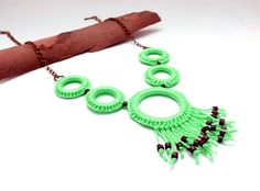 crochet circle necklace with fringe and wooden beads / mint green / crochet jewelry / geometric bib necklace