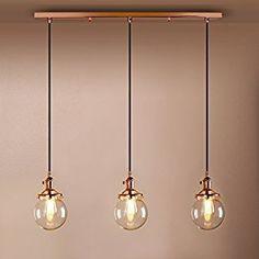 Pathson Retro Loft Bar Chandelier Glass Globe Shade Three Light Hanging Ceiling Pendant Light Lamp (Copper): Amazon.co.uk: Lighting