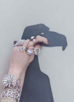 """Shadow Play"": Hand Shadow Puppets in Diamonds in Vogue Gioiello- love the vulture!"