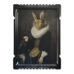 Add quirky design to any room with this unique Galerie de Portraits tray from ibride. This traditional portrait painting is finished with a charming animal head creating an artistic feel in the home.