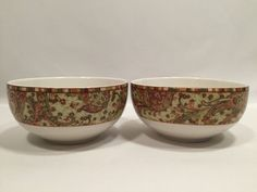 """222 Fifth Maharana Coupe Cereal Bowls 5 1/2"""" Red Green Paisly Tan White Set of 2 #222Fifth"""