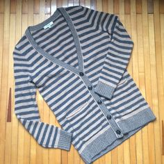 """Madewell merino wool cardigan Madewell 100% merino wool cardigan. Grey and tan stripes. V neck with 5 button closure. Good condition, very little pilling, worn maybe 6 times. 26"""" shoulder to bottom hem. Madewell Sweaters Cardigans"""