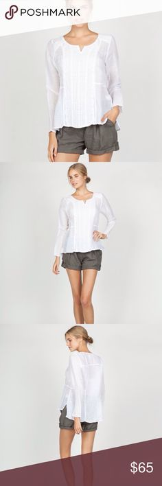 Linen Top with Crochet Bodice Trim This adorable linen/cotton blouse looks so elegant while being casually cool.     55% linen, 45% cotton Model is wearing size small Hand wash cold Miilla Clothing Tops Blouses