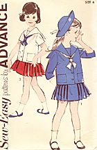 Advance #2775. Child's 2 piece Sailor Dress, with pleated skirt and Middy. Skirt has suspenders that cross in back. Middy shirt has sailor collar, front buttons, front patch pockets, and tie. Hat not included. (See website for more details and patterns.) #sewingpattern