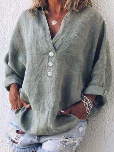 ef435522a9 Casual Linen Long Sleeve Shirt Collar Shirts   Tops. Plus Size ...
