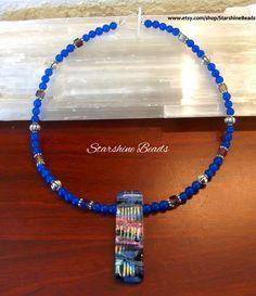 Blue Jade Dichroic Glass Necklace - Dichroic Glass Necklace, Dichroic Glass…