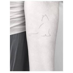 Minimalist cat tattoo on the inner forearm. Tattoo artist: Jakub Nowicz