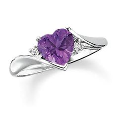Heart-Shaped Amethyst Ring in 10K White Gold with Diamond Accents