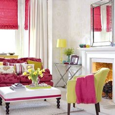 purpur rosa wohnraum frühling farben kombination
