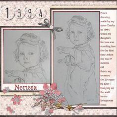 Beschrijving: Hier is mijn lo - My Treasure.. gemaakt voor een art challenge in Nov.'14  in Wilma4ever ,  gemaakt met de nieuwe kit : HSA Winter Memories . Bedankt Eileen voor de mooie kit om mee te werken. Deze pentekening is gemaakt door mijn zus Tineke 20 jaar geleden toen mijn dochter Nerissa voor het eerst los stond , mooi hé , en hangt sindsdien aan de muur in de kamer , dit is mijn schat , ben er zo blij mee ! font : Andalus  zelf geschaduwd mijn eigen foto
