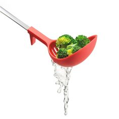 Strain and serve soup at the same time with this strainer ladle!