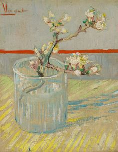 Vincent van Gogh (1853 - 1890) Sprig of flowering almond in a glass, 1888 Arles oil on canvas, 24.5 x 19.5 cm Van Gogh Museum, Amsterdam (Vincent van Gogh Foundation) s184V/1962 F392