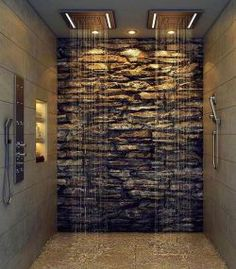 Awesome shower room with a Rock Wall #luxury #luxurylifestyle #luxuryliving