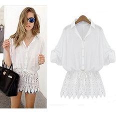 Women Celeb Long Sleeve Tops Blouse Summer Lace Loose T Shirt Fashion P96
