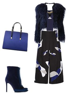 """Blue&Black flowers"" by ludopolier ❤ liked on Polyvore featuring Marco de Vincenzo, TIBI, Coast and Givenchy"