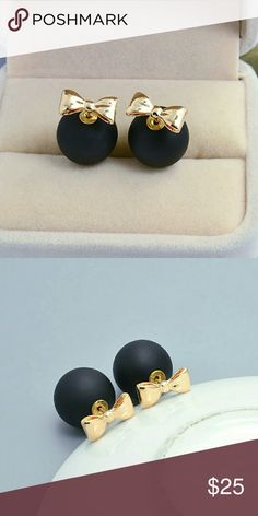 COMING SOON Bow Double Sided Earrings Must have matte black and gold bow double sided earrings  Like to be notified of their arrival via price drop!! Jewelry Earrings