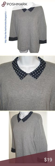 NWT Tommy Hilfiger Gray Collared Sweater SZ XL This is a gorgeous sweater.. love the collar.. Navy blue with polka dot. Bust measures 50 inches and length is 26 Tommy Hilfiger Sweaters