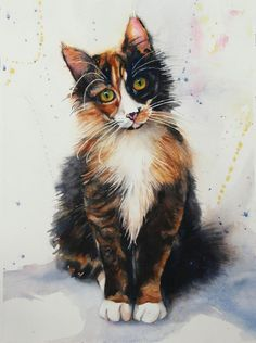 Sweet Valentine, watercolor painting of a cat kitten lovely by artist Carol Boudreau