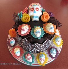 Homemade cake for a Dia De Los Muertos party