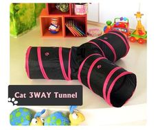 KIT CAT PLAY 3 WAYS CAVE CAT TOY PLAY TUNNEL FUN Peep Hole Tunnel -US $23.90