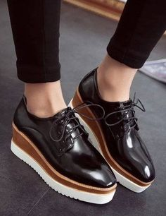 New Patent Leather Models Square Toe Women Oxford Shoes Wood Platforms Lace Up Punk T Students Office China Mainland