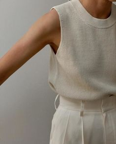 KNITTED COTTON-MIX VEST TOP - white - Tops - COS GB