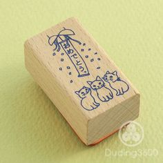 "Japanese Cat Wooden Rubber Stamp - Cats Celebrating ""Congratulations"" - Pottering Cat"