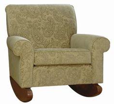 Carolina Cottage Upholstered Jacquard Oxford Club Rocking Chair, Green