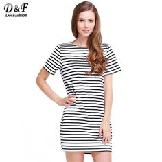 2015 Summer New Arrival Women's Clothing Ethnic Brand Black White Striped Short Sleeve Straight Short Casual Dress