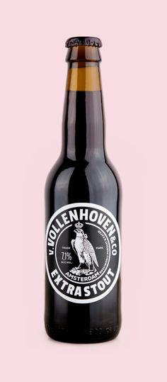 Van Vollenhoven Extra Stout Beer. Dutch Beer. Design agency: Bowler & Kimchi, Design Kyanne Buckmann & Kevin Davis