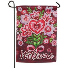 Evergreen Valentine Bouquet 'Welcome' Garden Flag ($8.99) ❤ liked on Polyvore featuring home, outdoors and outdoor decor