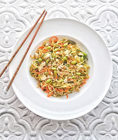 This Zucchini and Carrot Lo Mein is made with spiralized vegetables. It's fast and easy, gluten free, and kids love it.