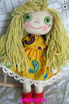 I used fabrics and threads and I created a cute doll.A Mable doll will be the favorite toy and the best friend for kid; -It will help to have a walk outside, to eat, to sleep -It will share with the kid all the hobbies and secrets! Sewing For Kids, Baby Sewing, Dolls For Sale, Doll Costume, Cute Dolls, Antique Dolls, Weaving, Teddy Bear, Knitting