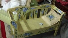 Yellow Bench with handpainted flowers that doubles as a storage chest