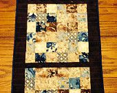 Beautiful Blue, Brown, and Cream Patchwork Quilted Table Runner by CreationsbyWeezie on Etsy, $35.00 USD