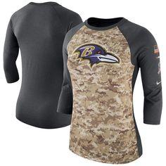 57b13626484 Women's Baltimore Ravens Nike Camo/Charcoal Salute to Service Legend  Three-Quarter Raglan Sleeve